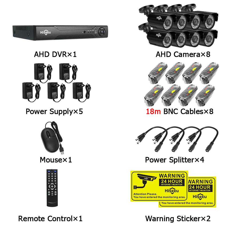 Image 5 - Hiseeu 8CH CCTV System kit AHD 1080P IR Bullet CCTV video Surveillance Home Security Indoor/Outdoor Weatherproof CCTV Cameras-in Surveillance System from Security & Protection