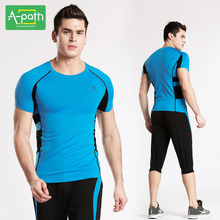 A path Mens Running T Shirts Pants Sport Suit for Fitness Jogging Running Tights Yoga Set