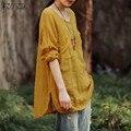 Негабаритных 2016 Осень Женщины Блузки Топы Случайные Свободные O Шеи Длинным Рукавом Карманы Хлопок Твердые Рубашки Плюс Размер Blusas Fenmininas
