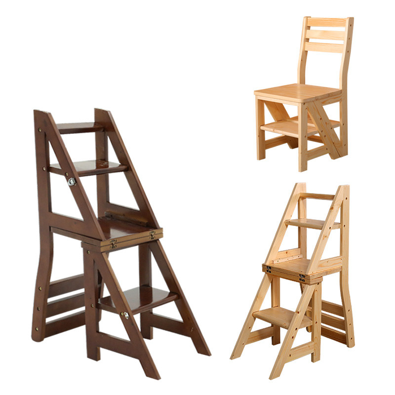 Wooden Folding Library Ladder Chair Library Furniture Step