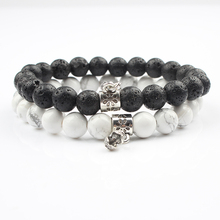 Lingxiang 2Pcs/ set of couple bracelet classic natural stone black and white beaded bracelet for male and female friends to wear цена и фото