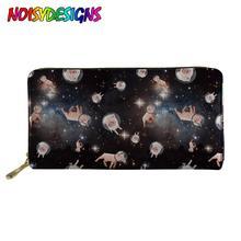 NOISYDESIGNS Womens Card Holder Wallet Space Cats Pigs Print Long Zipper Purses Female Ladies Design Bolsa Feminina
