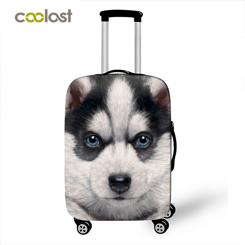 Cute Pet Dog Cat Luggage Protective Cover Travel Accessories Elastic Suitcase Cover For 18-32 Inch Case Anti-dust Baggage Cover