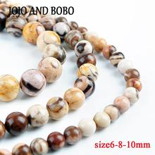 10pcs 6/8/10mm Australian Zebra Natural Stone Top quality Round beads ball Jewelry bracelet making accessories DIY(China)