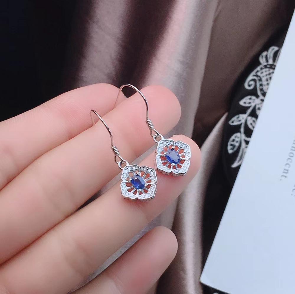 Neue art Blue sapphire edelstein schmuck set einschließlich ring ohrringe halskette mit 925 silber - 3