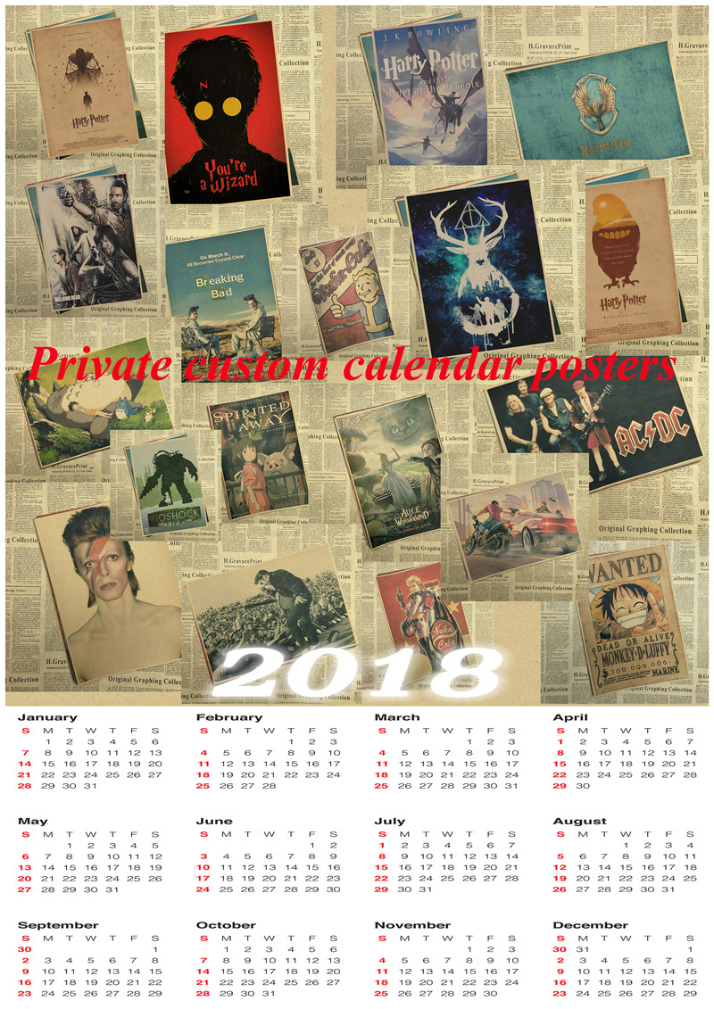 Private custom calendar posters Poster Office Gift Room Dining Home Decor wall sticker Design