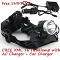 2000 LM led Headlight  CREE XM-L T6 LED Headlamp Lights With AC Charger and Car Charger
