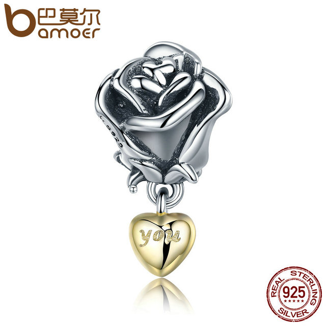 BAMOER Authentic 925 Sterling Silver Rose Flower with You in Heart Dangle Charm