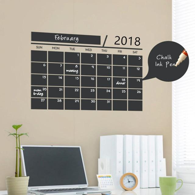 216* New Month essential office Weekly Planner Calendar MEMO Chalkboard Blackboard Wall Sticker kids play room study room decor
