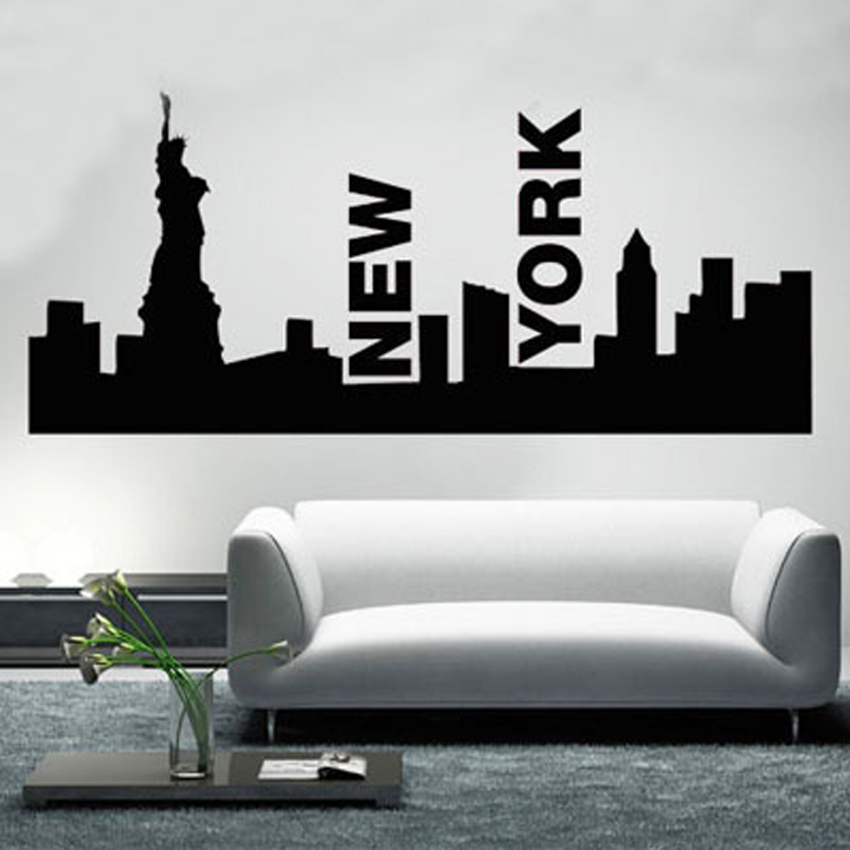 Statue Of Liberty New York Skyline Wall Art Living Room Wall Sticker Vinyl Wall  Decals(