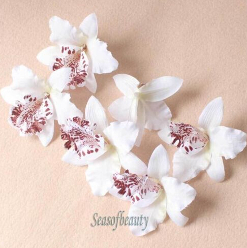 20 PCS White Orchid Artificial Flower for Making Flower