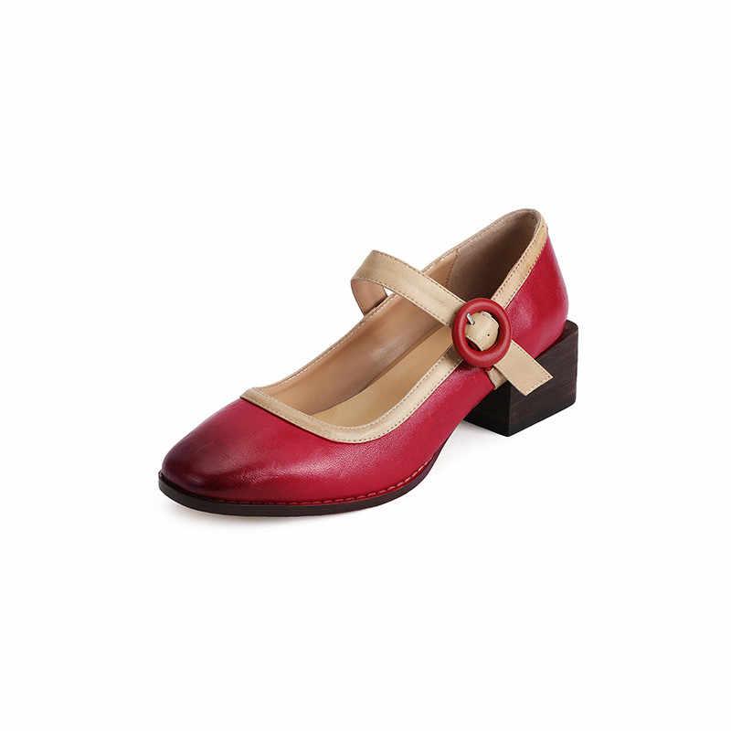 YMECHIC Retro Vintage Thời Trang Mary Jane Giày Cao Gót Nữ Da Thật Da Cừu Đỏ Vàng Đế thô Bơm Mùa Thu 2019