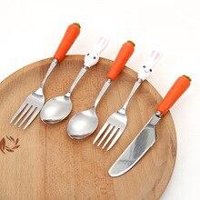 Милый мультяшный кролик с морковкой нож ложка вилка из нержавеющей стали Керамическая Детская Посуда Экологичная детская обучающая посуда