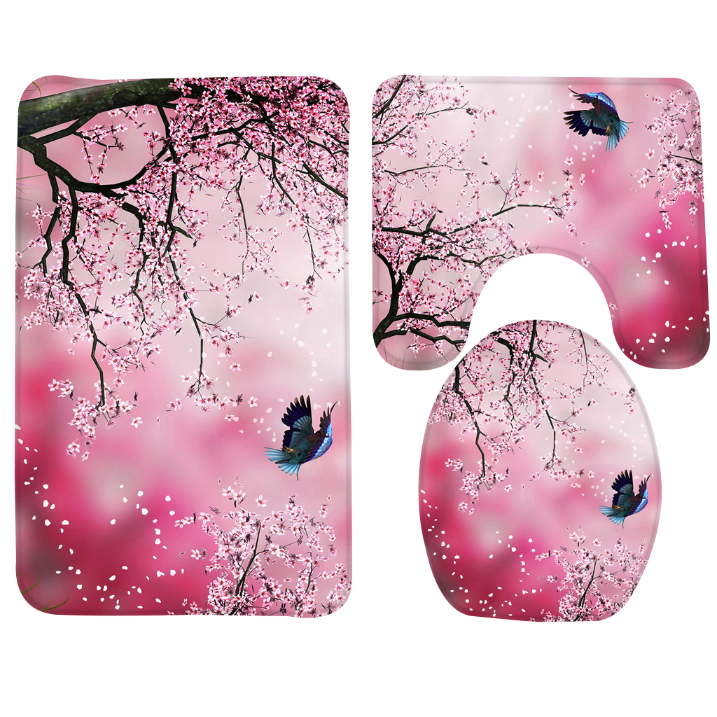 3pcs Bath Mat Set Beach Pink Flamingos Pattern Bath Mats Bathroom ...