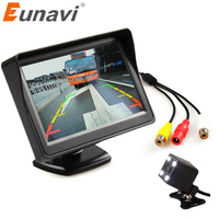 Eunavi TFT 4.3 inch Car monitor for Rear view camera 4 LED Night Vision CCD Waterproof Auto Parking Backup Reverse monitor