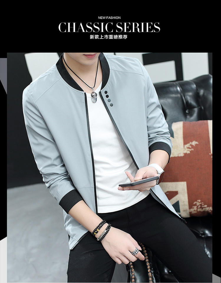 HTB1KlkfCv5TBuNjSspcq6znGFXaR Fall 2019 pure color collar jacket type teenagers cultivate one's morality Casual jacket