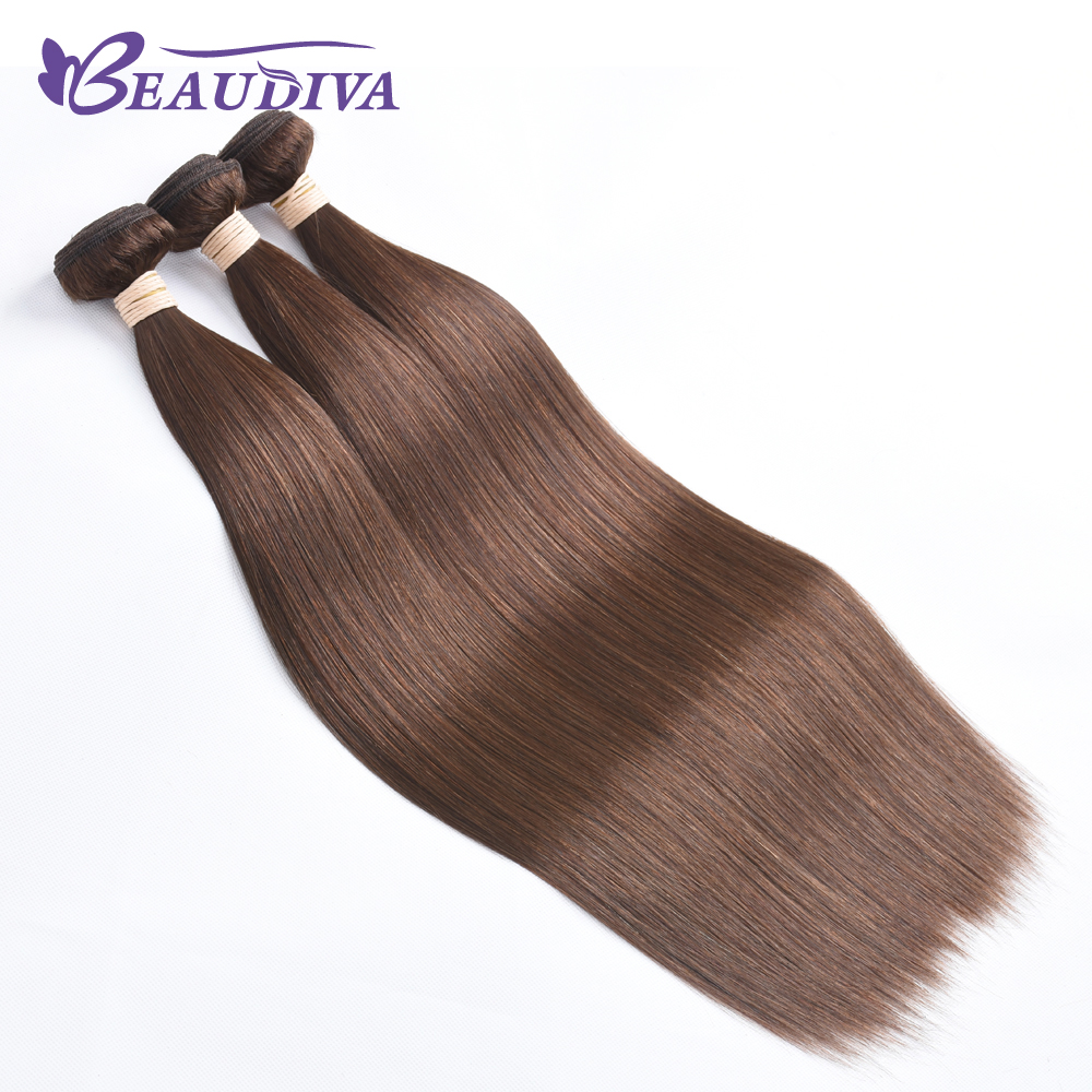 BEAU DIVA Peruvian Straight Hair Weave 4# color Remy Hair Extensions 100% Human Hair Bundles Three Piece Only 8-26 Inches
