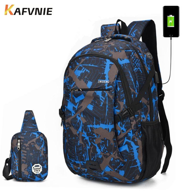 4e8765d3d2 2 IN1 School Backpack Male Backpack Chest Bag set Boys one Shoulder Big  Student Multi-