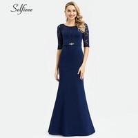 Vintage Navy Blue Women Dresses Half Sleeve O Neck Elegant Bodycon Maxi Dresses With Crystal Decoration Vestidos De Verano 2019
