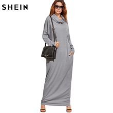 SHEIN Woman's Fashion 2017 Winter Dress Women T-shirt Dresses Grey Cowl Neck Long Sleeve Drop Shoulder Maxi Dress With Pockets