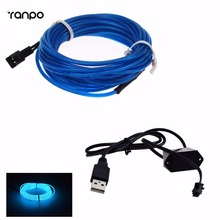 3.28ft 1M Dark Blue EL Wire Flexible Neon LED Neon Light Glow String Strip Rope Tube + USB Controller