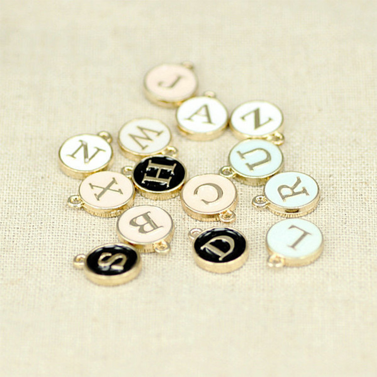 26pcs 12*15mm Round Gold Enamel Alphabet Charms Color Capital Letter Beads Initial Pendants Alloy Jewelry Making Accessories DIY(China)