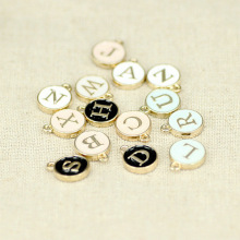 26pcs 12*15mm Round Gold Enamel Alphabet Charms Color Capital Letter Beads Initial Pendants Alloy Jewelry Making Accessories DIY
