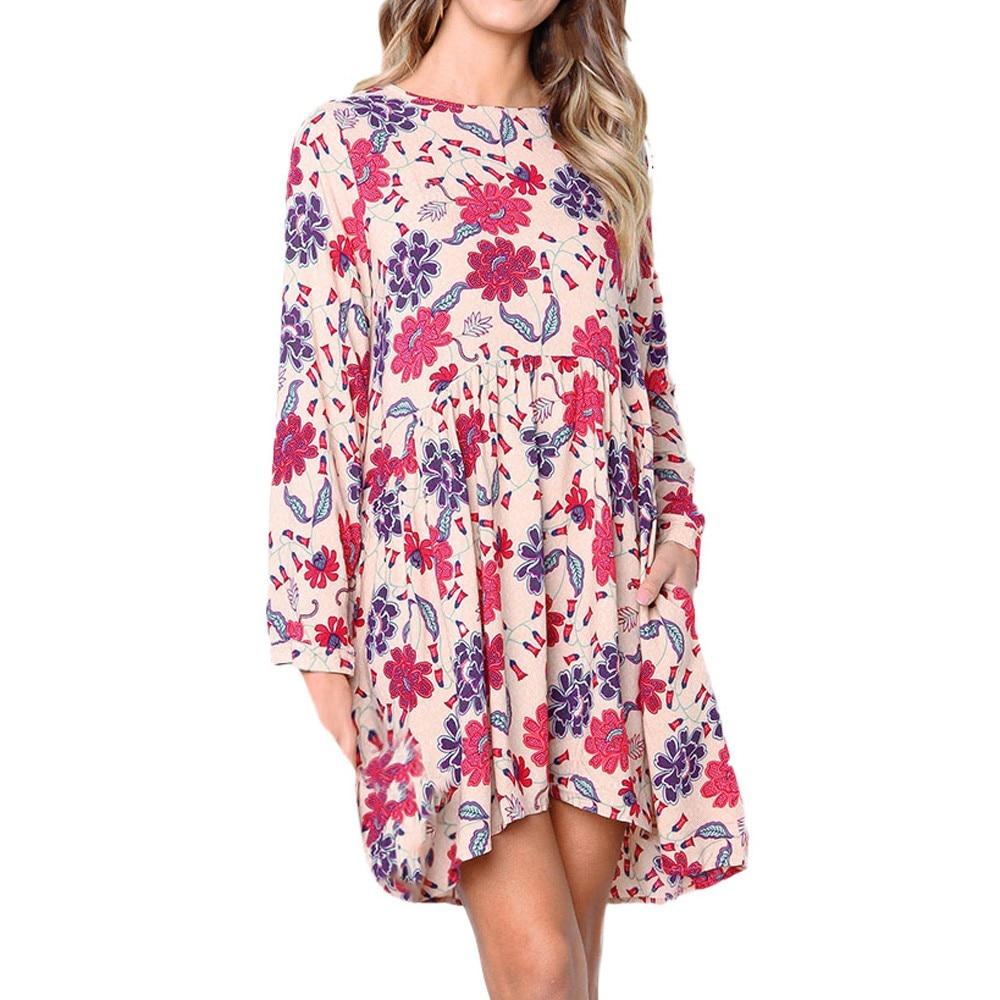 80217dc5bfd Fashion Summer Dress Female Womens Daily Casual Print Long Sleeve Evening  Party Fashion Club Midi Dress Elbise Robe Vestidos