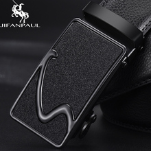 JIFANPAUL belt men leather black automatic buckle head trend young man personality simple business