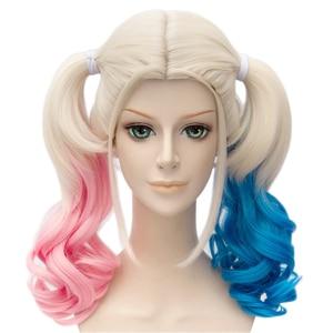 Image 2 - Anime Suicide Squad Batman Joker Harleen Quinzel Wig Harley Quinn Heat Resistant Synthetic Hair Cosplay Wigs + Wig Cap