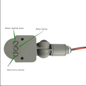 Sensor de movimiento de ángulo de 140, interruptor de luz para exteriores 10m AC 220V, Sensor de movimiento PIR infrarrojo automático con potencia de carga de luz LED 100W