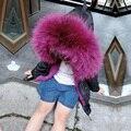 2016 маленькая девочка/мальчик меховая куртка реального енота меховым воротником кролика внутри