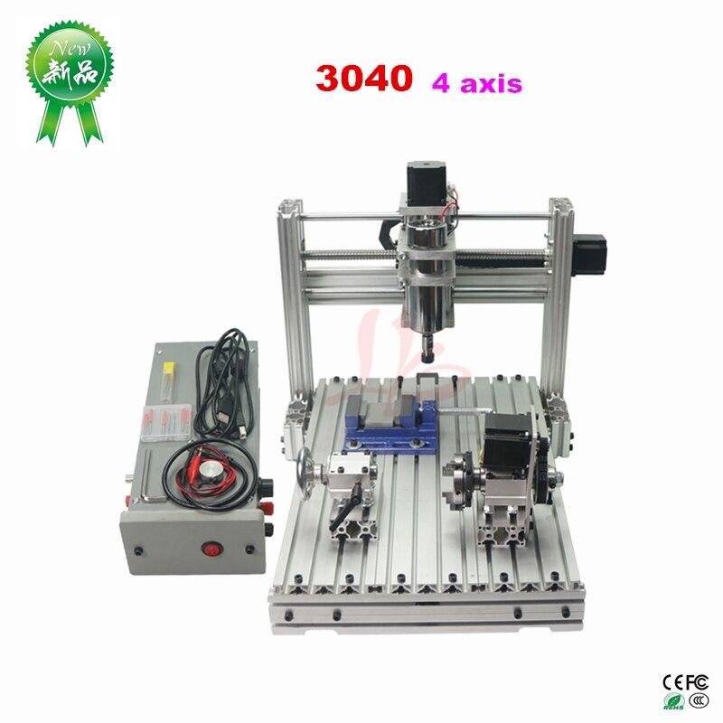 Piccola macchina di fresatura cnc Mini FAI DA TE macchina del router di CNC 3040 4 assi macchina per incidere di CNC per la lavorazione del legno