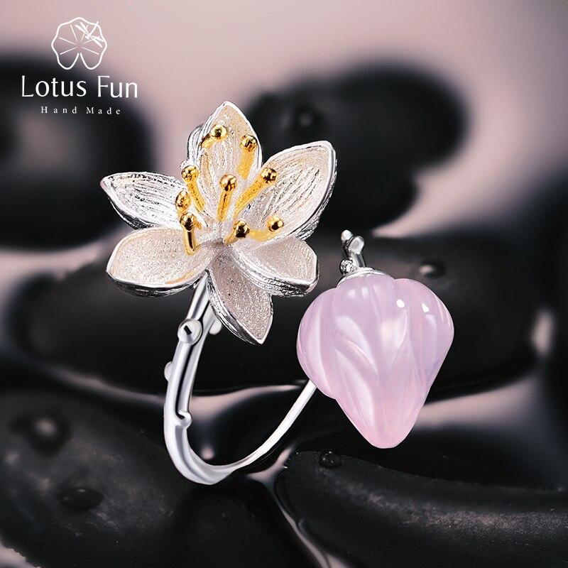 Lotus Plaisir Réel 925 Sterling Argent Naturel Rose Quartz Fin Fait Main Bijoux Bague Fleur Lotus Chuchotements Anneaux pour Femmes Bijoux