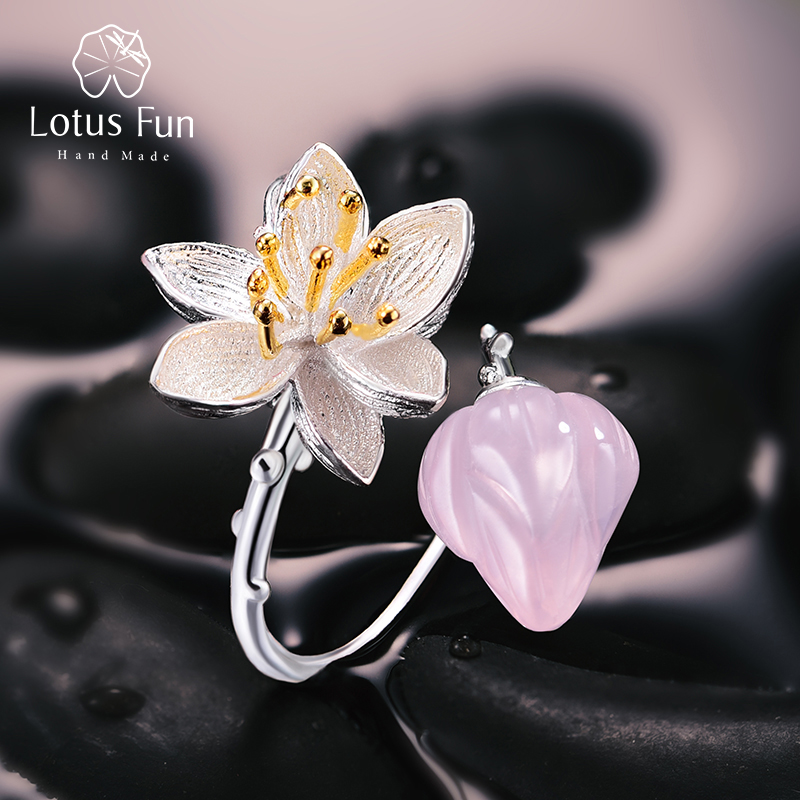 Lotus Fun Real 925 Sterling Silver Natural Rose Quartz Handmade Fine  Jewelry Flower Ring Lotus Whispers Rings for Women Bijoux 6ae0accd06b3