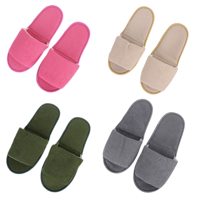 1 pair Home Hotel Breathable Slippers SPA Foldable Air Travel Salon Wear With Storage Cotton Cloth Travel Accessories