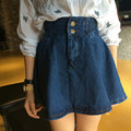 Бесплатная доставка новое прибытие женщин-line мини джинсовые юбки передние кнопки эластичный пояс юбки женщин джинсовая юбка