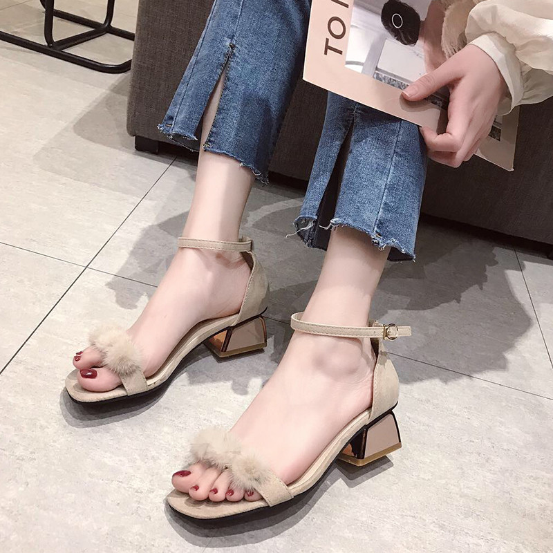 HKCP 2019 new high heeled stiletto sandals for women Korean version versatile high heeled summer plush peep toe sandals C243 in Middle Heels from Shoes