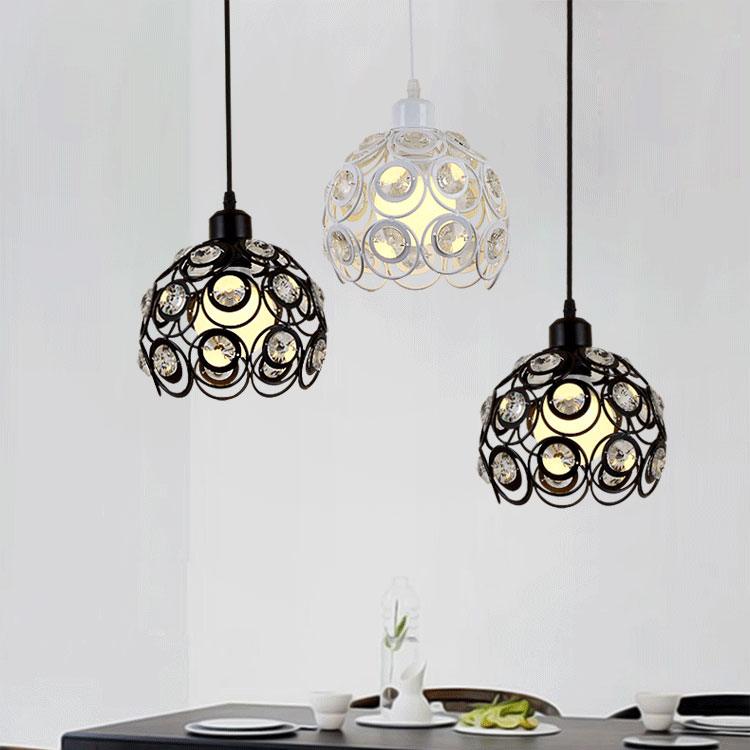 Restaurant chandelier three modern dining table dining room bar crystal lamp creative personality balcony ceiling lights simple modern geometric chandelier hollow iron dining room lamp one desk lamp three dining table lamp