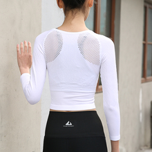 Womens Running Crop Top Round Collar Long Sleeve Top