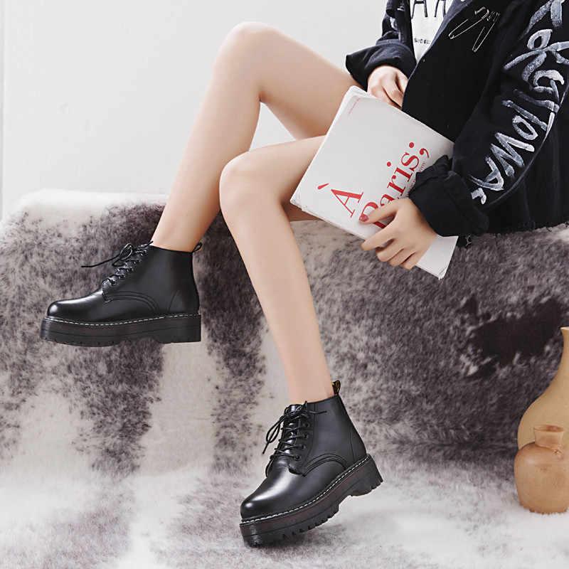 COOTELILI รองเท้าบูทรองเท้าผู้หญิงฤดูหนาวรองเท้า Lace-Up ถักแบนรองเท้ารองเท้าผู้หญิงรองเท้าหนัง 3 ซม. ส้นเท้า
