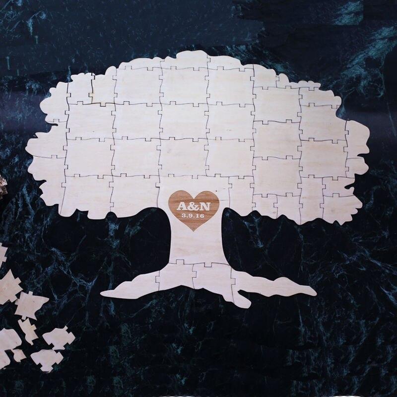 Automne automne arbre de vie Alternative en bois mariage livre d'or Puzzle rustique