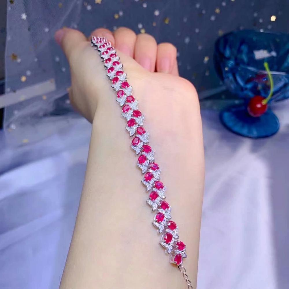 Shilovem 925 argent sterling véritable naturel rubis Bracelets fine bijoux à la mode femmes fête nouvelle plante mariage 3*4mm dl0304918agh