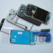 White/Black/Blue Full Housing Cover Repair Parts for Samsung Galaxy S4 S IV i9500/9505 + Front Glass + Repair Tool + Home Button