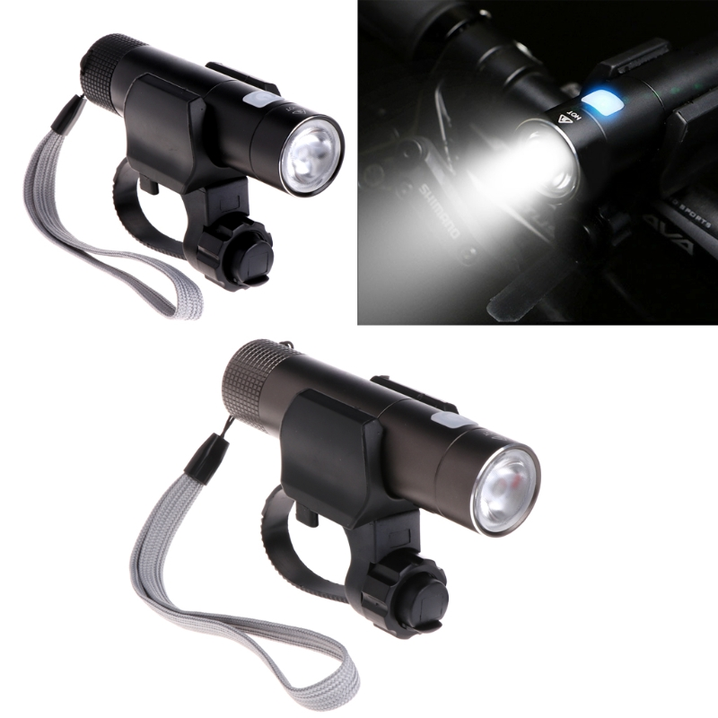 Bicycle Flashlight USB Rechargeable Bicycle Bike 18650 Lamp Torch LED Flashlight Mount Holder 1800LM high quality torch clip mount bicycle front light bracket flashlight holder 360 degree rotation1 35
