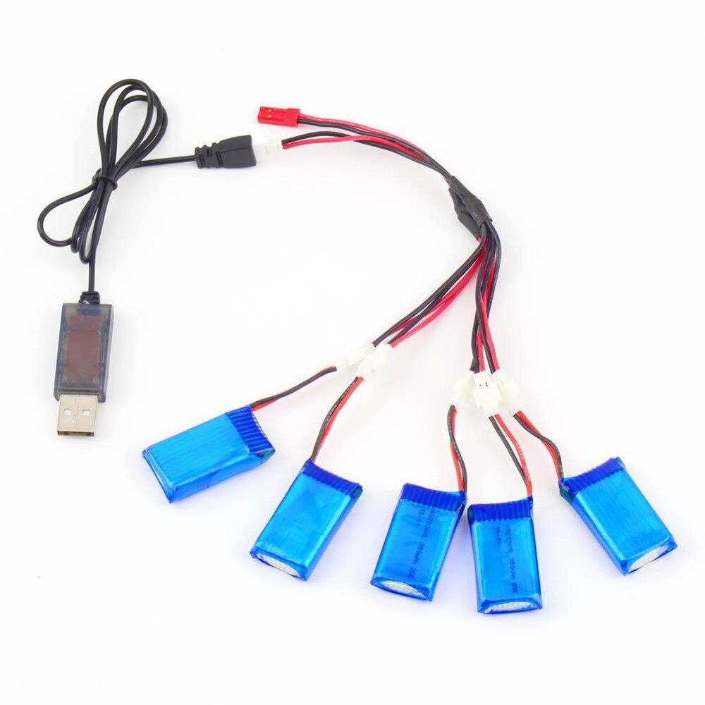 5 шт. 3.7 В 380 мАч Батарея + 2 до 5 кабель зарядка через USB кабель для Радиоуправляемый квадрокоптер