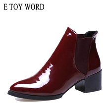 E TOY WORD women ankle boots 2019 New Autumn elastic Patent Leather Boots Female pointed toe Low Heel shoes Size 41 42