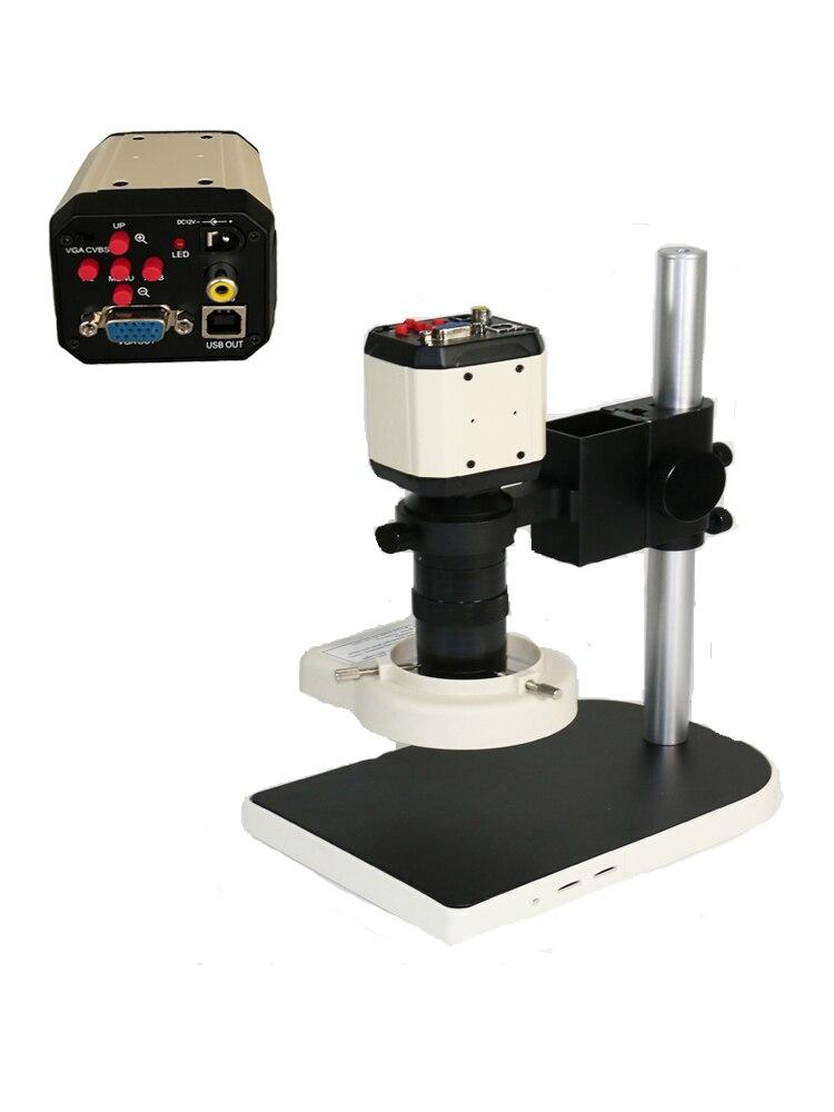 HD 3 in1 numérique vidéo industrielle Microscope caméra VGA USB réglable 56 LED anneau lumière 130X C monture lentille verre téléphone outils