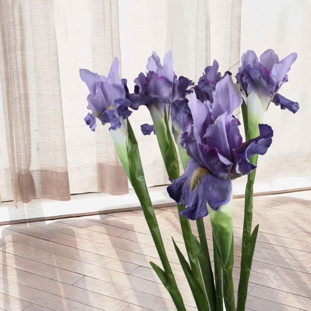 OurWarm 5st Artificial Flower Iris Dekorativa Fake Flowers Visa blomma för Home Wedding Decoration Alla hjärtans dag Supply