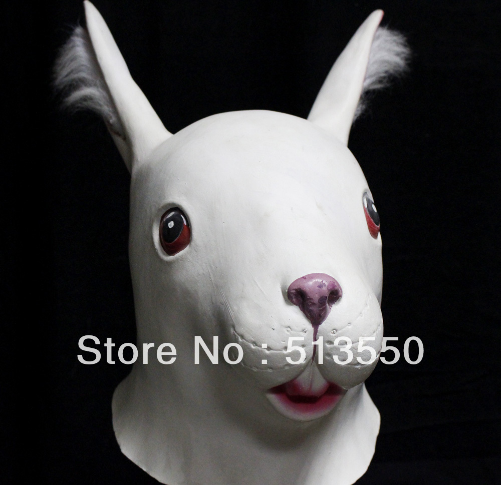 Mens Ladies White Rabbit Rubber Mask Animal Halloween Fancy Dress Costume Outfit